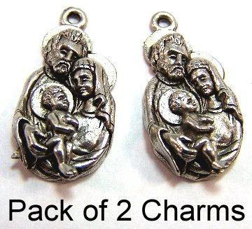 Two Pewter Holy Family Charms - Free Shipping in the US - (5147)