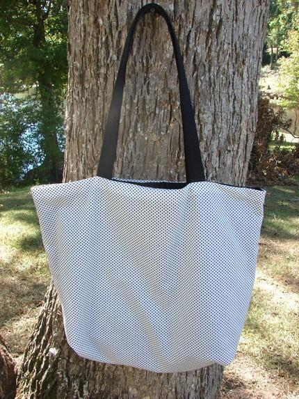 Polka Dot Tote black on white fully lined Extra Large