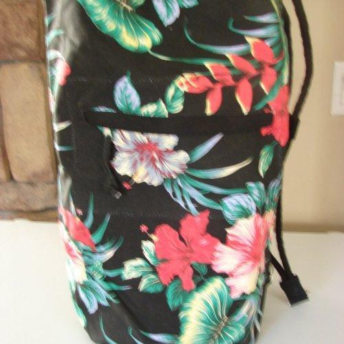Extra Large Black Tropical Floral Duffel Bag with Drawstring closur......