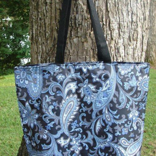 Extra Large Vintage Blue and Black Paisley tote