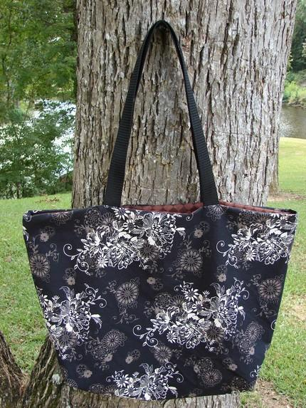 Black Brown and Beige Floral Scroll Tote fully lined Extra Large