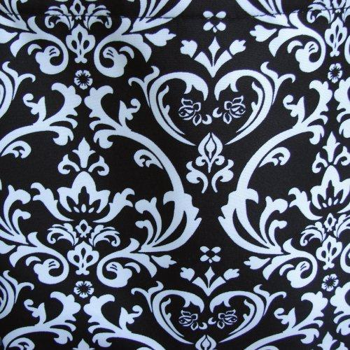 Extra Large Black and White DAMASK with Black trim tote fully lined......