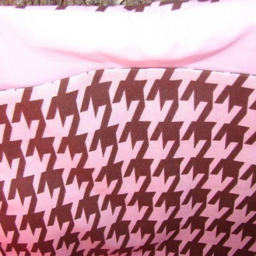 Pink and Brown Houndstooth Tote fully lined Extra Large