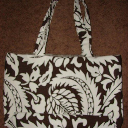White with Dark Brown Medallions tote Extra Large reversible