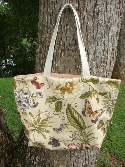 Tropical Floral with Butterflies Tote fully lined Extra Large
