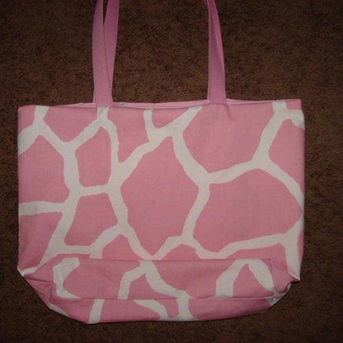 Pink and White Giraffe Print Tote fully lined Extra Large