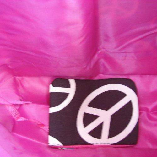Extra Large Black and White PEACE SIGNS with Pink trim tote fully l......
