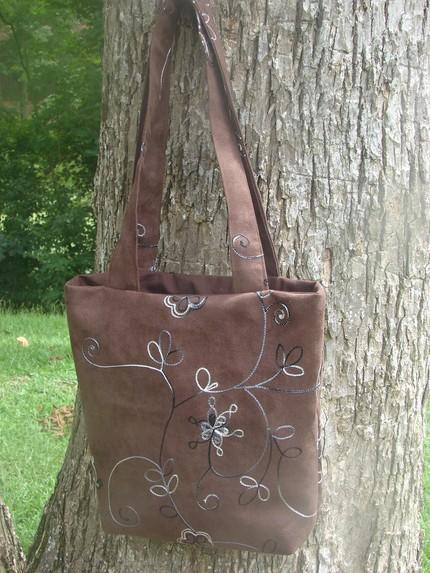 Brown Suede Fully Lined Embroidered Handbag w/interior pocket