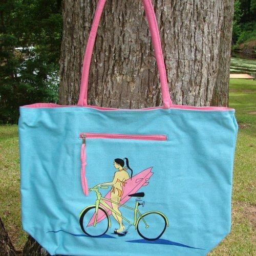 Extra Large Canvas Beach Tote with interior organizer pocket Surfer...