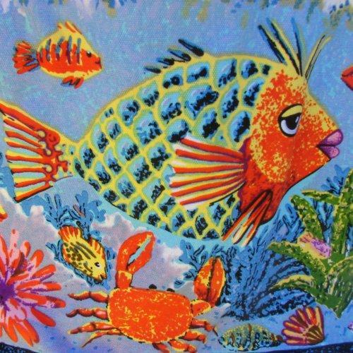 Large Lady Fish Tote with interior organizer pocket