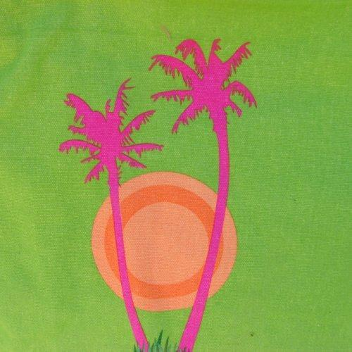 Large Pink Palm Tree Tote with interior organizer pocket