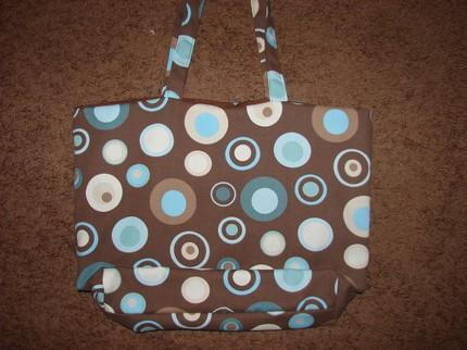 Retro Circles Brown and Blue Tote fully lined Extra Large