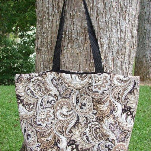 Brown and Black Paisley Tote fully lined Extra Large