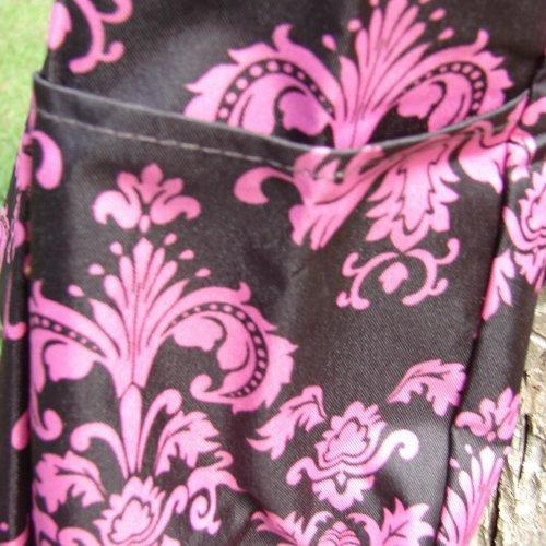Extra Large Pink and Brown Damask Tote bag fully lined with 3 exter......