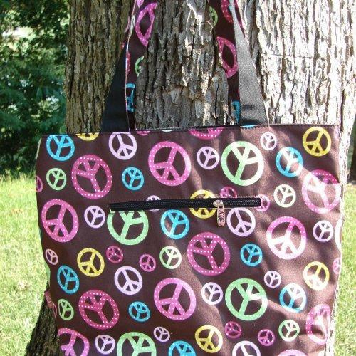 Extra Large QUILTED PEACE signs DIAPER bag with matching wipes pouc......