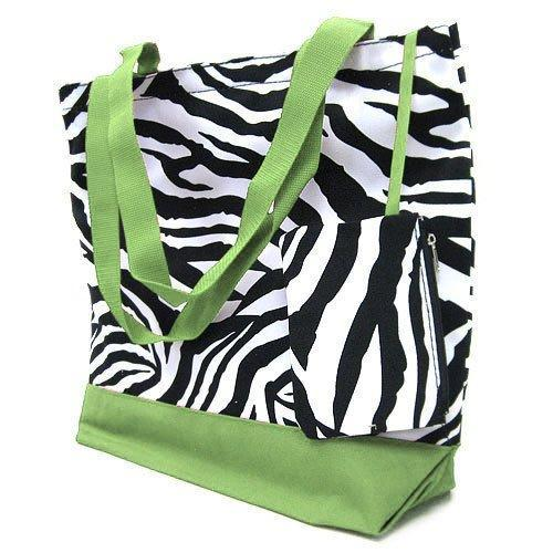 Extra Large Zebra print tote with Green trim fully lined with match......