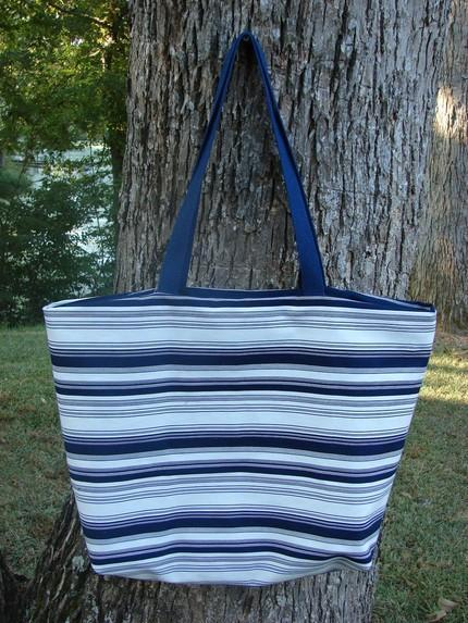 Demin Striped Tote Extra Large Navy on White fully lined with 2 inter