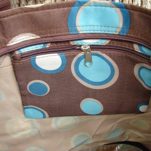Extra Large Retro circles Organizer Tote with 3 exterior pockets