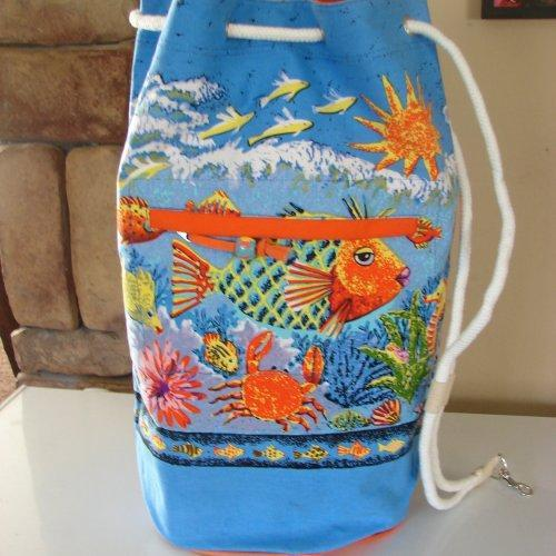 Extra Large Lady Fish Duffel Bag with Drawstring closure
