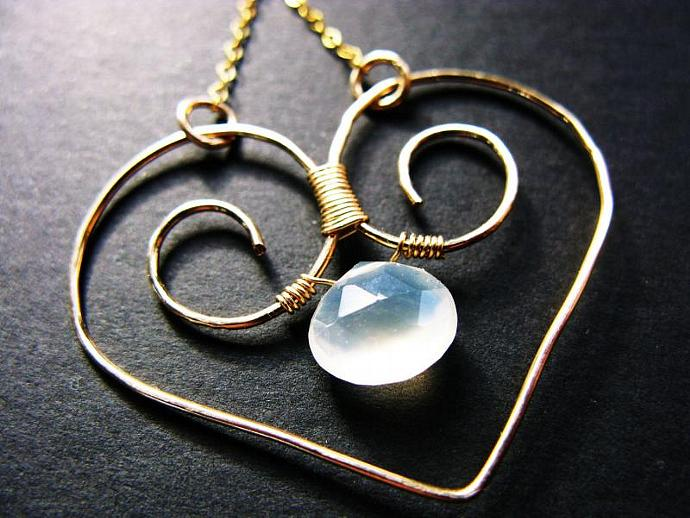 Palest Yellow Chalcedony, Wire Wrapped in a Gold Fill Wirework Heart Frame,