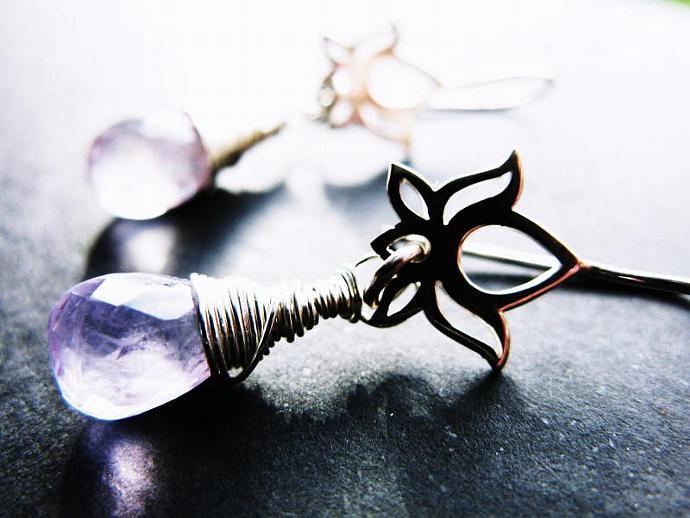 Beautiful Pink Amethyst Earrings on Sterling Silver Lotus Flower Earwires,