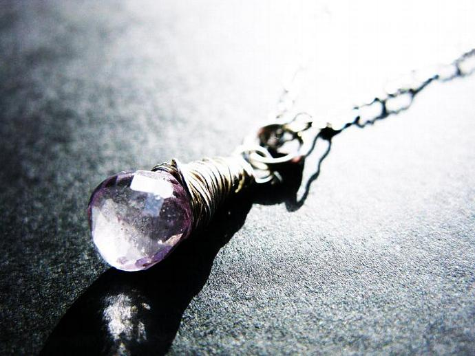 Pretty & Feminine Pink Amethyst Necklace, Wire Wrapped in Sterling Silver,