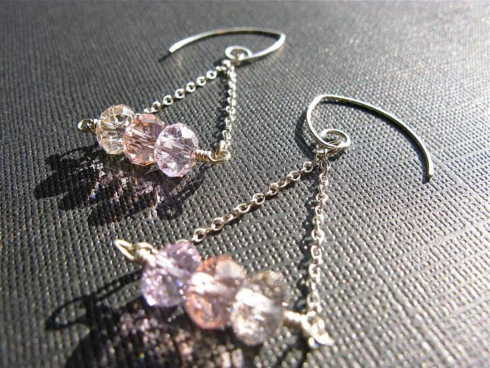Swarovski Rondelle & Sterling Silver Earrings in Pink Shades, Wedding Jewelry,