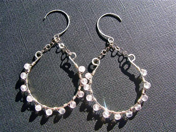 Rose Quartz Hoop Earrings, Sterling Silver Wire Wrapped Dangly Hoops, Beaded