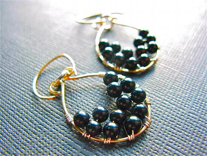 Mixed Metal Jewelry, Sterling Silver & Gold Filled, Black Onyx Wire Wrapped