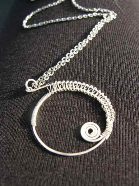 Sterling Silver Spiral Wirework Pendant on Chain   FREE UK POSTAGE