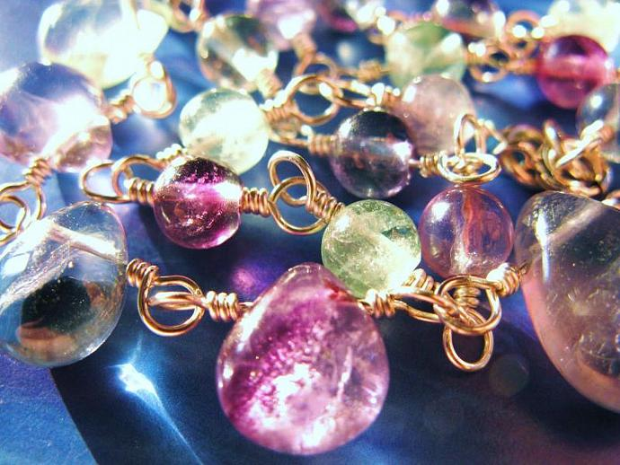 Rainbow Fluorite & Sterling Silver Wire Wrapped Necklace, Gemstone Jewelry,