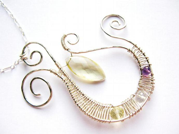Sterling Silver Wire Wrapped Pendant with Lemon Quartz, Amethyst & Rock Crystal,