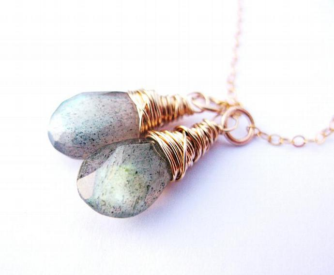 Stunning Blue Flash Labradorite Lariat, Wire Wrapped in Gold Fill, Blue/Green