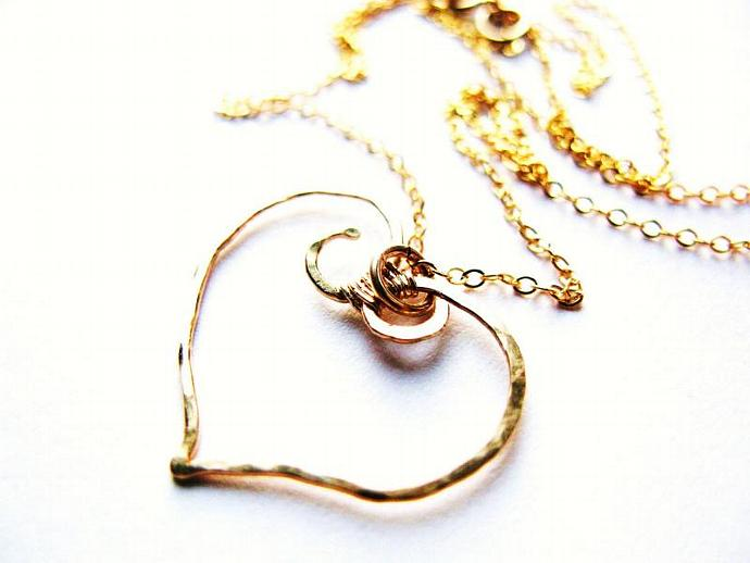 Gold Fill Wirework Heart Necklace, Romantic Gift, Wedding Jewelry, Perfect
