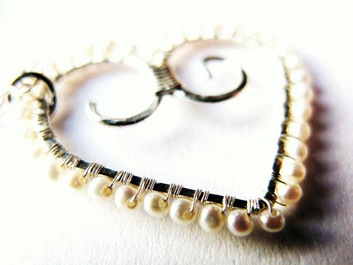 Romantic Sterling Silver Wire Wrapped Heart with Freshwater Seed Pearls