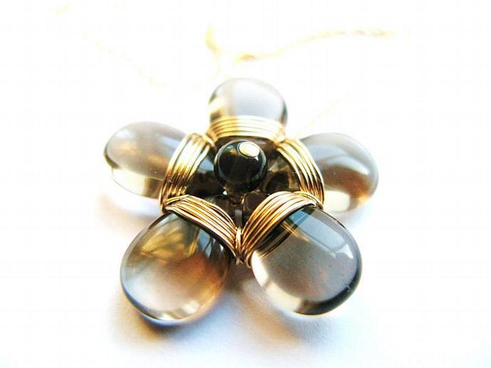 Gold Fill & Smokey Quartz Flower Necklace - Statement Piece - Wire Wrapped,