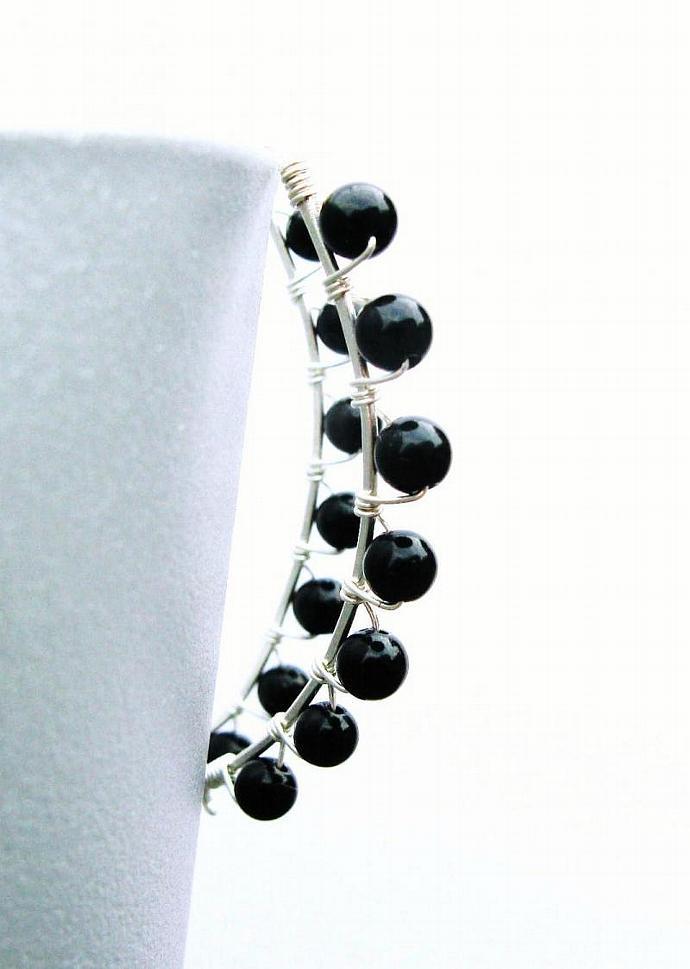 Wire Wrapped Black Onyx & Sterling Silver Almond Shape Hoops, Gemstone Earrings,