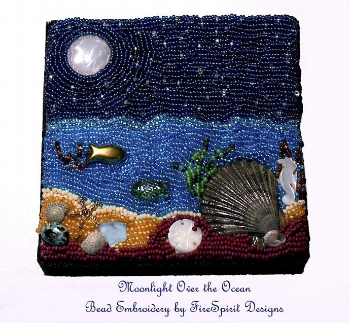 Moonlight Over the Ocean- Bead embroidery