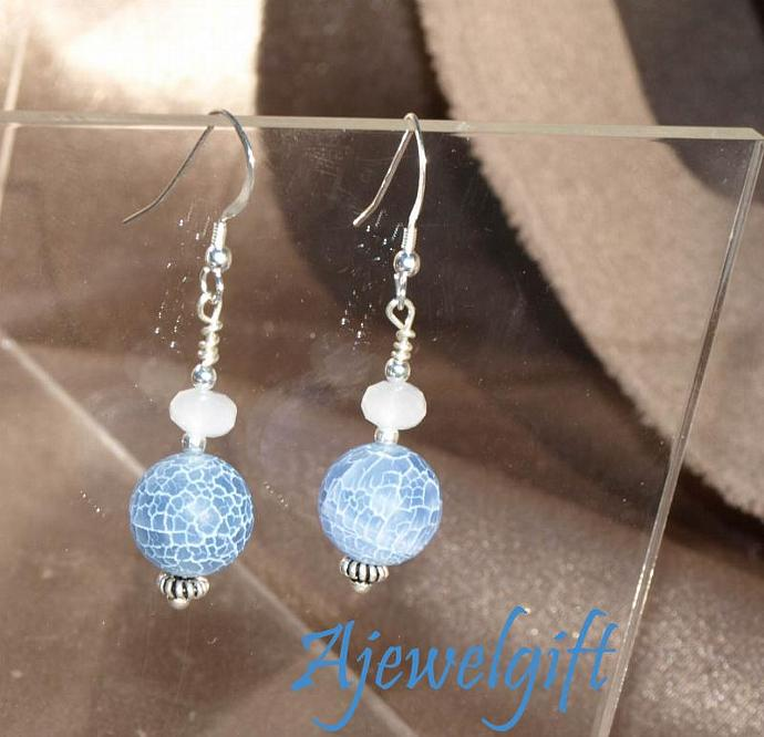 Frosted Crackle Light Blue Earrings 10096