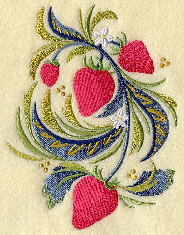 Russian Folk Strawberries 5x7 Embroidered Quilt Square