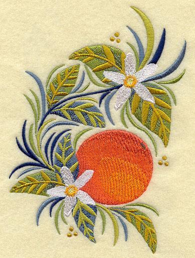 Russian Folk Orange 5x7 Embroidered Quilt Square