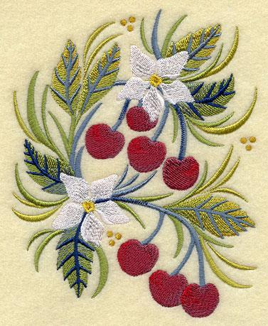 Russian Folk Cherries 5x7 Embroidered Quilt Square