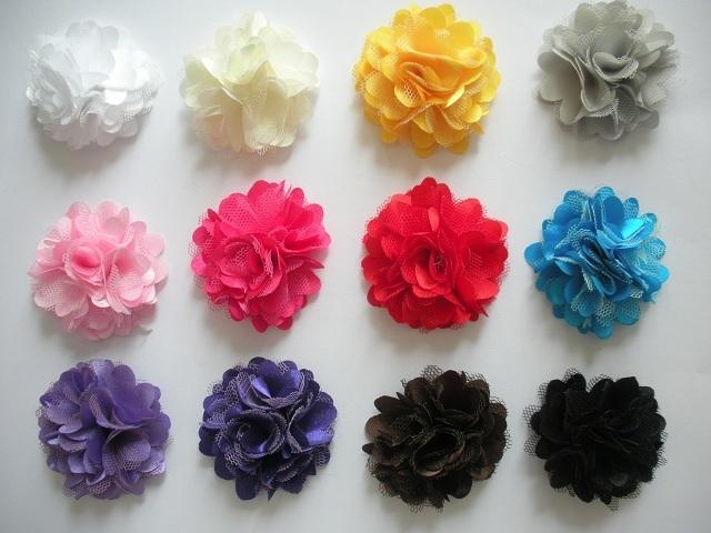 Lot of 12 MINI Satin Mesh Flowers for Girl's Hair Clips --- ZIBBET