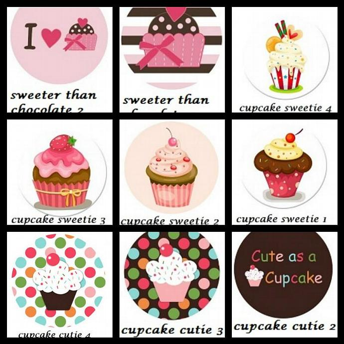 """10 1"""" Sweets Treats Cupcakes Flatback Buttons For Bow Centers, Hair Clippies ---"""