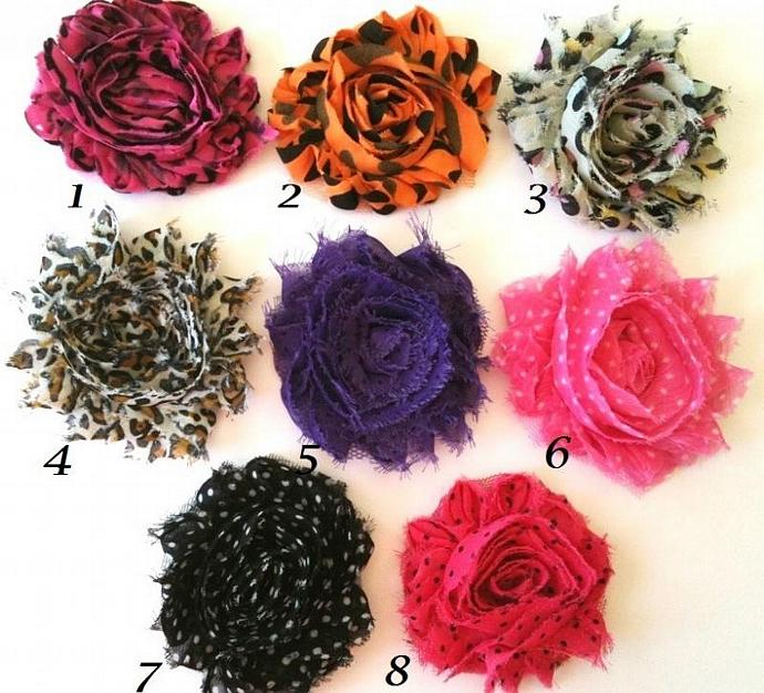 12 Shabby Style Frayed Chiffon Flowers -- Printed and Dots---GRAB BAG --- ZIBBET