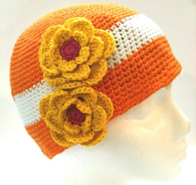 NEW Boutique Orange Crochet Hat with White Band & Yellow Flowers for Baby Girls