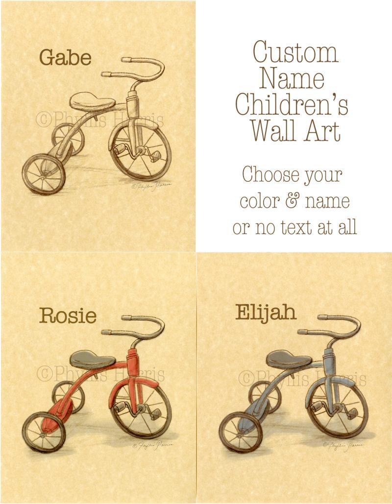 Children\'s Wall Art Print - Vintage by PhyllisHarrisDesigns on
