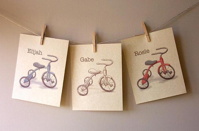 Children's Wall Art Print - Vintage Tricycle Sketch- Custom Name art