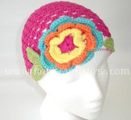 NEW Boutique Hot Pink Crochet Hat with Multicolor Flowers for Baby Girls ---