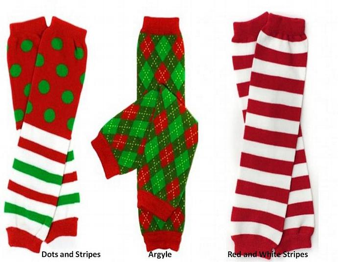NEW Girls & Boys Red & Green Christmas Baby Leg Warmers Dots, Stripes, Argyle,
